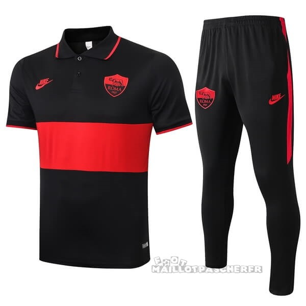 Equipement Maillot Foot Nike Ensemble Polo As Roma 2019 2020 Noir Rouge