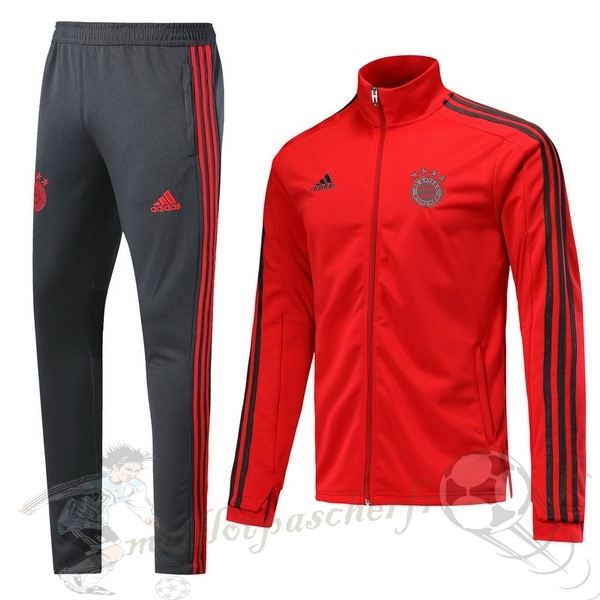 Equipement Maillot Foot adidas Survêtements Bayern Munich 2018 2019 Rouge Gris Clair