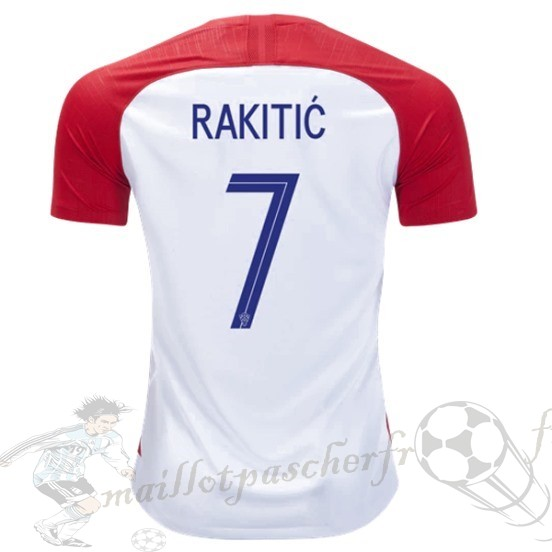 Equipement Maillot Foot Nike No.7 Rakitic Domicile Maillot Croatie 2018 Rouge