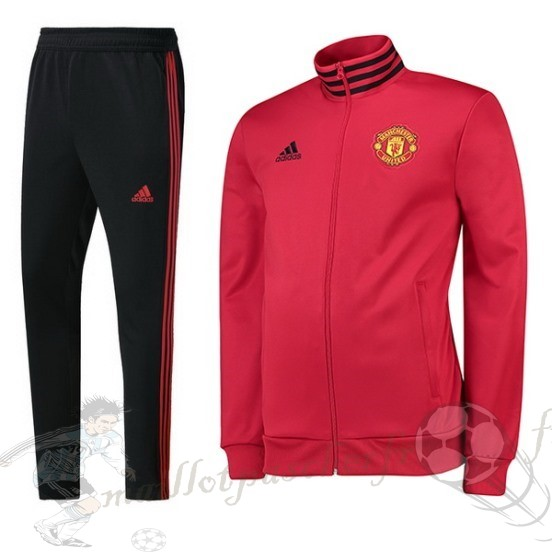 Equipement Maillot Foot Adidas Survêtements Manchester United 2018 2019 Rouge Marine