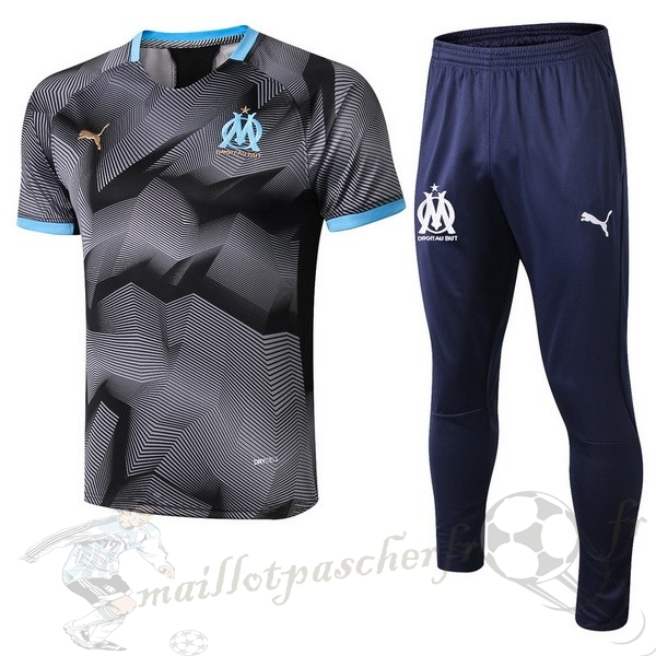 Equipement Maillot Foot PUMA Entrainement Ensemble Marsella 2018 2019 Gris Marine