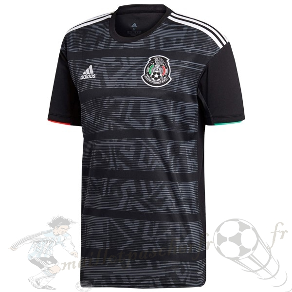 Equipement Maillot Foot Adidas Thailande DomiChili Maillot Mexico 2019 Noir Gris