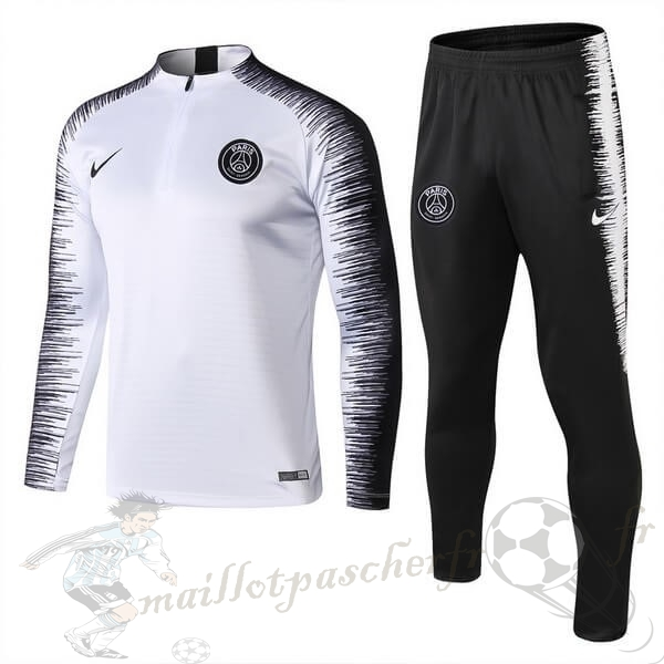 Equipement Maillot Foot Nike Survêtements Paris Saint Germain 2018 2019 Blanc Noir