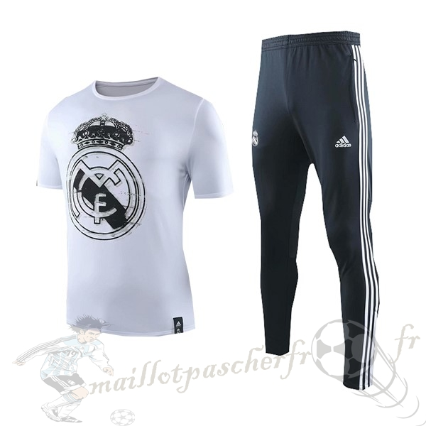 Equipement Maillot Foot adidas Entrainement Ensemble Real Madrid 2019 2020 Blanc Bleu