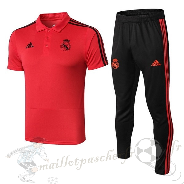 Equipement Maillot Foot adidas Ensemble Polo Real Madrid 2018 2019 Rouge Noir