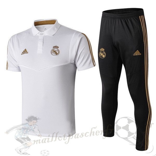 Equipement Maillot Foot adidas Ensemble Polo Real Madrid 2019 2020 Noir Blanc